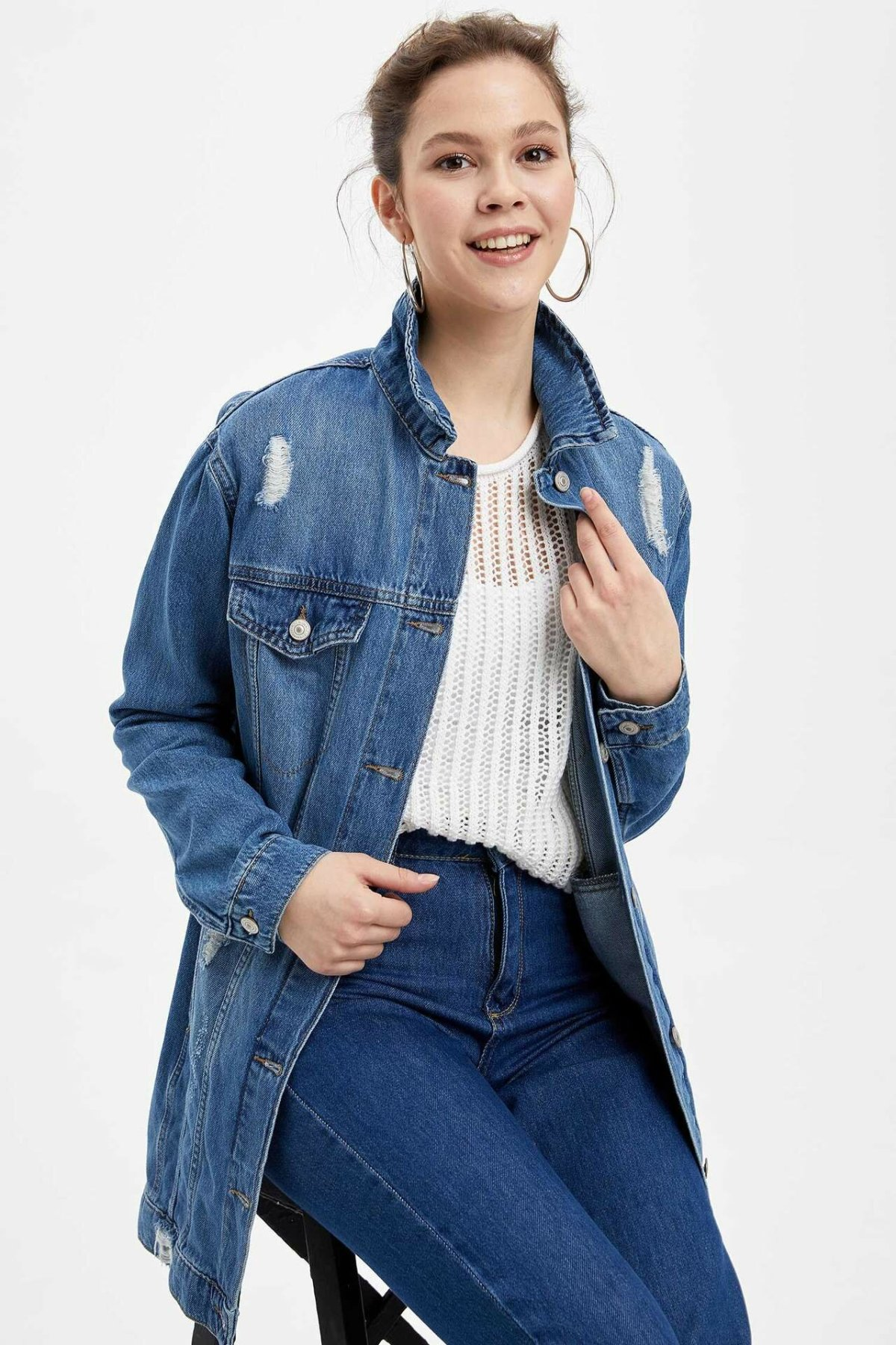 DeFacto Woman Spring Denim Blue Long Jacket Women Casual Ripped Denim Coats Female Denim Jacket-J9095AZ20SP