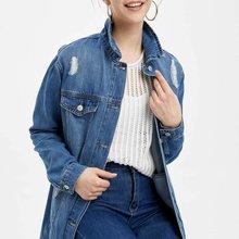 DeFacto Woman Spring Denim Blue Long Jacket Women Casual Ripped Denim Coats Fema