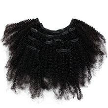 Предварительно цветные бразильские кудрявые вьющиеся волосы на заколках для наращивания человеческих волос 7 шт. набор для наращивания с 16 зажимами Модный женский парик