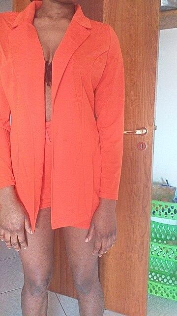 Echoine Autumn Long Sleeve suit women 2 Piece Set outwear Shorts costume femme Orange Black Elegant OL business Women Work Suits reviews №1 79520