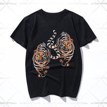 Футболка с тигровым тигром для мужчин и женщин однотонная хлопковая