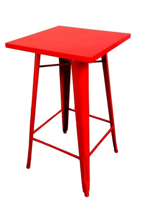 Table TOL, High, Steel, Red, 60x60 Cms