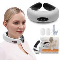 Pulso elétrico pescoço massageador cervical vértebra impulso massagem terapia magnética alívio da dor ferramenta cuidados de saúde relaxamento