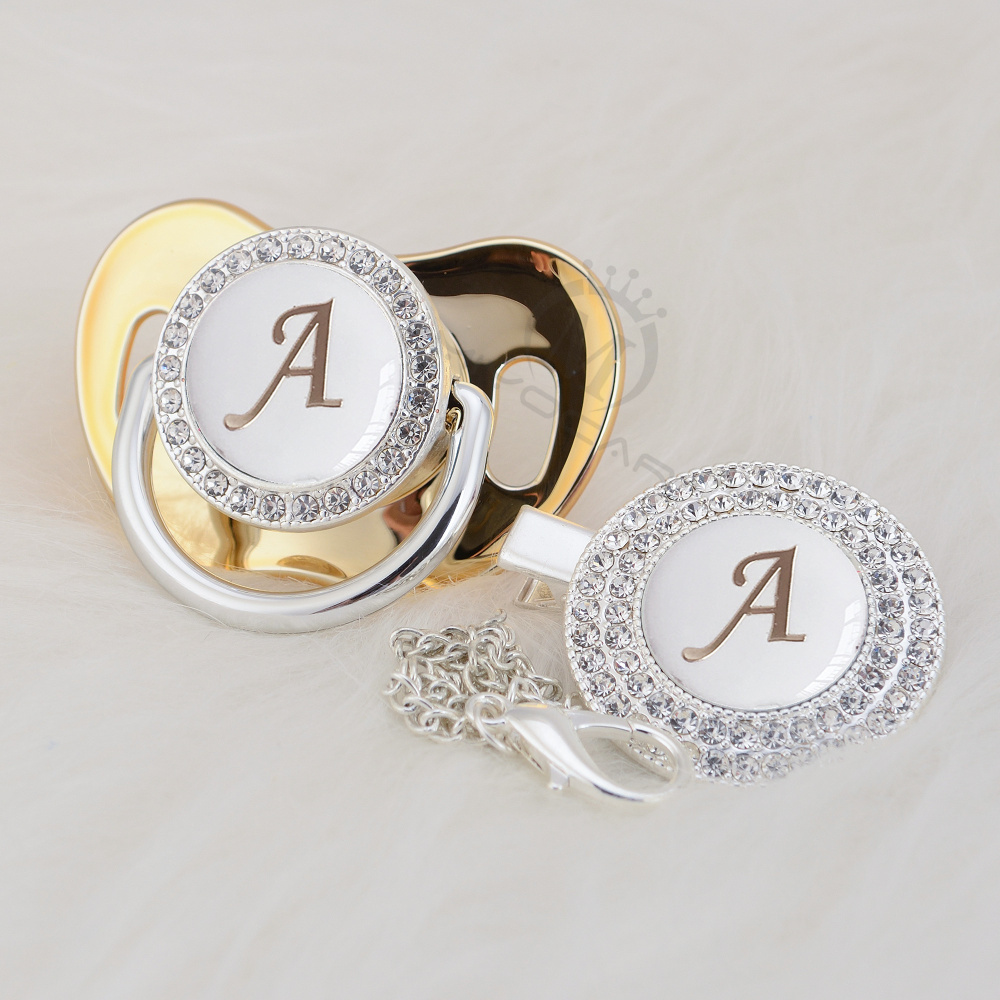 MIYOCAR Silver Initials Letter A Lovely Bling Pacifier And Pacifier Clip BPA Free Dummy Bling Unique Design LA-1