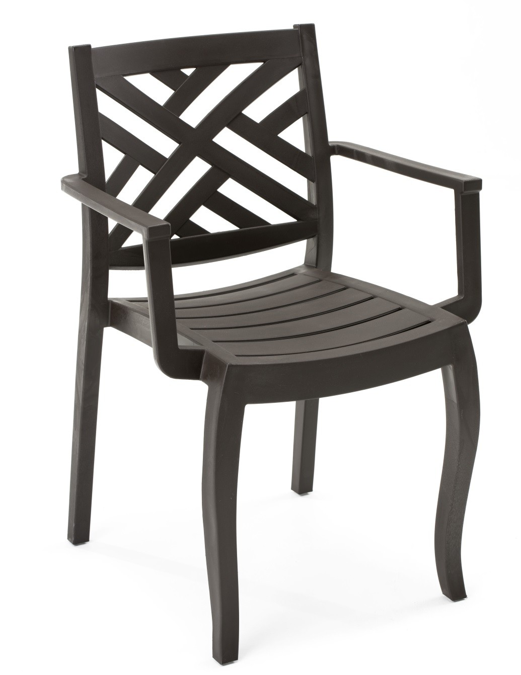 Armchair JACARANDA, Stackable, Polypropylene Brown Chocolate