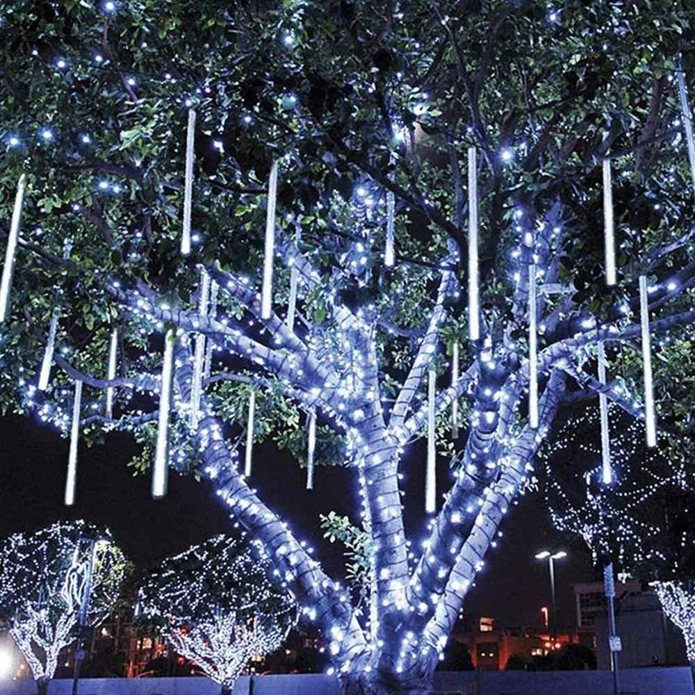 Stella Cadente Di Natale.Luci Di Natale Da Esterno Bianco Freddo Led Effetto Pioggia Stella Cadente Meteoriti Tubo 45cm Aliexpress