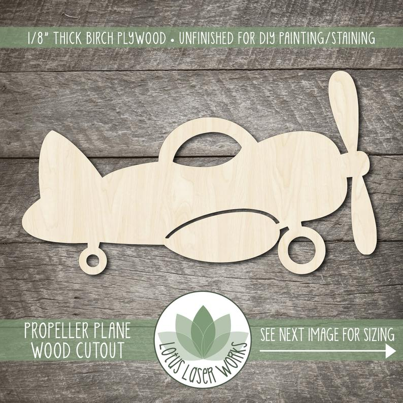 Wood Propeller Plane Cutout, Blank Wood Craft Embellishments, Wooden Airplane Shape image