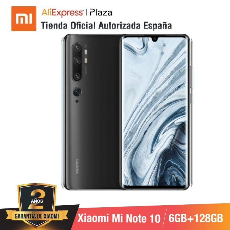 Xiao mi mi Note 10 (ROM 128 go avec 6 go de RAM, Cámara 108 MP, Android, Nuevo, Móvil)