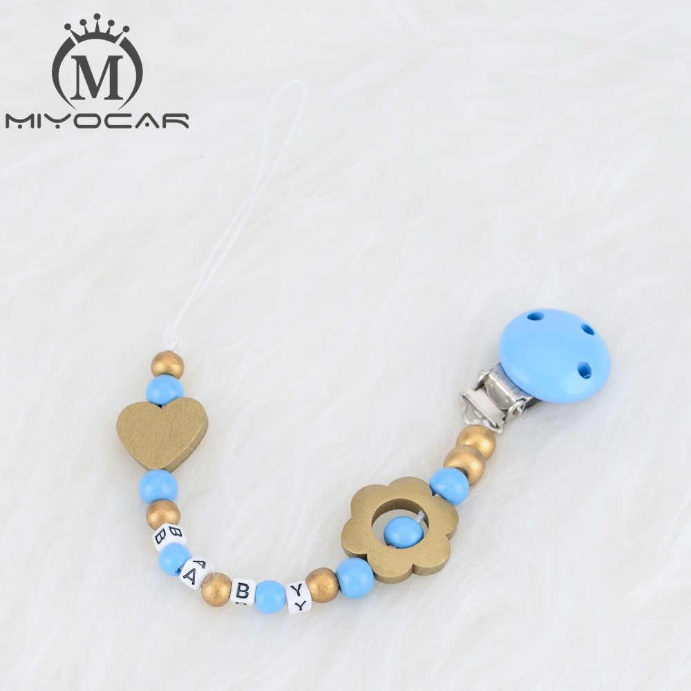 MIYOCAR personalizado cualquier nombre oro y azul cuentas de madera dummy clip titular chupete clips titular/clip de mordedores para bebé