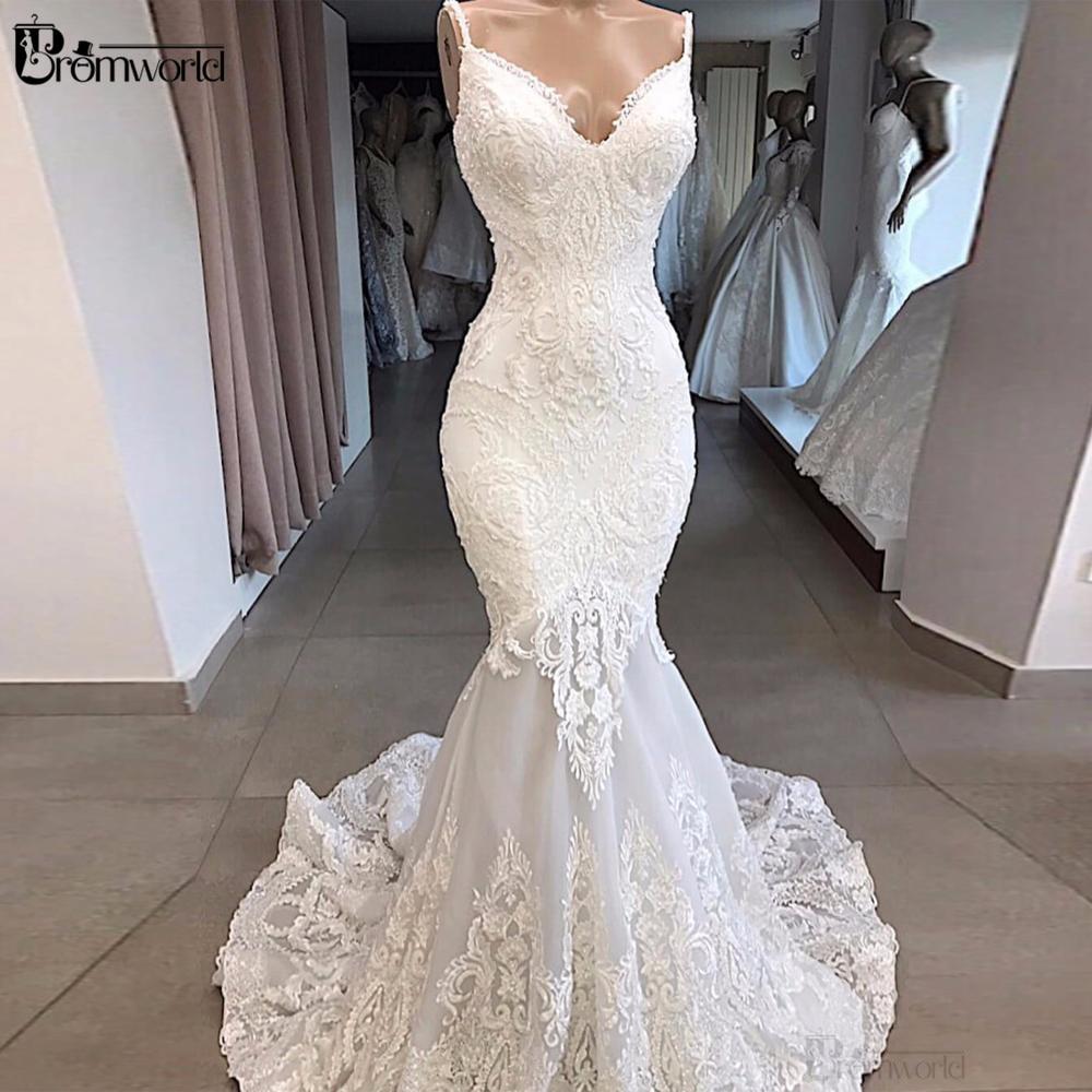 White Mermaid Wedding Dresses 2020 Vestidos De Novia Backless Sexy Sweetheart Lace Wedding Gowns Beading Appliques Bridal Dress