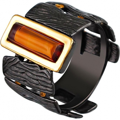 Esthete Ring With Amber Made Of Black Silver With Gilding