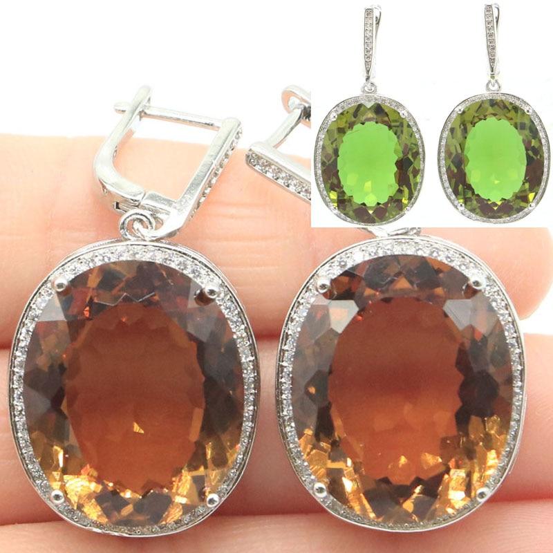 40x20mm Big Oval Gemstone 17.5g Created Color Changing Zultanite Ladies Wedding SheCrown Silver Earrings