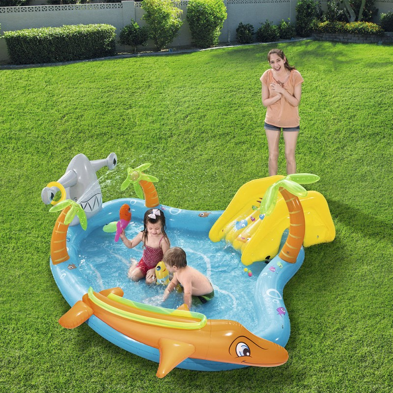 Children 'S Pool With Slide And Fish 280x257x87 Cm.