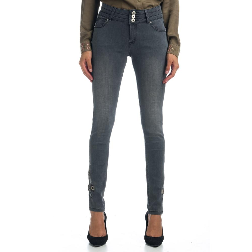 KOROSHI JEANS DENIM EMBROIDERY AND SHINY WOMAN