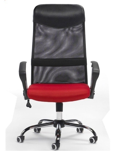 Office Armchair GINO (U), Black Mesh And Woven Mesh Red