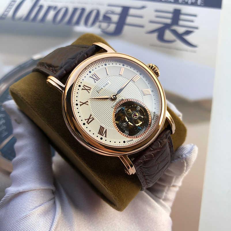 Oryginalne Tourbillon Seakors mężczyźni oglądać mewa ruch ST8000 zegarek mechaniczny luksusowe biznes zegarki na rękę skóra wodoodporna