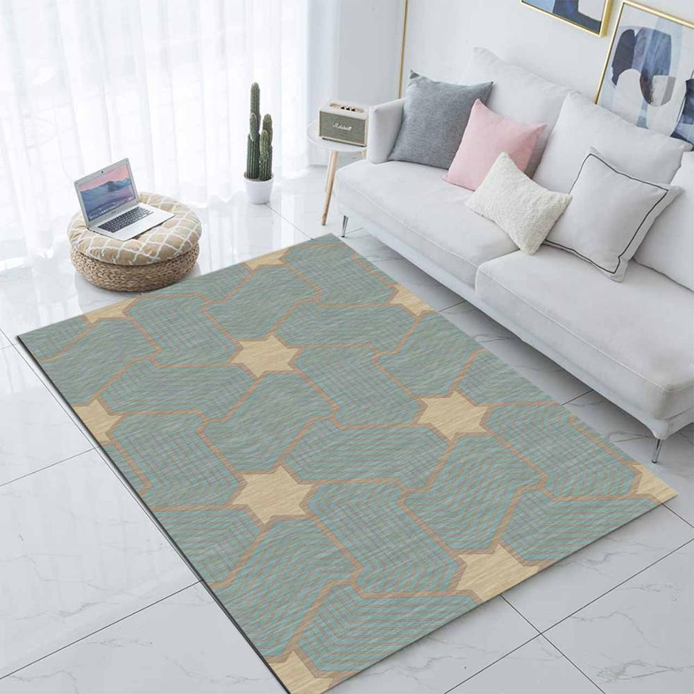 Else Yellow Stars On Green Nordec Scandinav 3d Print Non Slip Microfiber Living Room Decorative Modern Washable Area Rug Mat