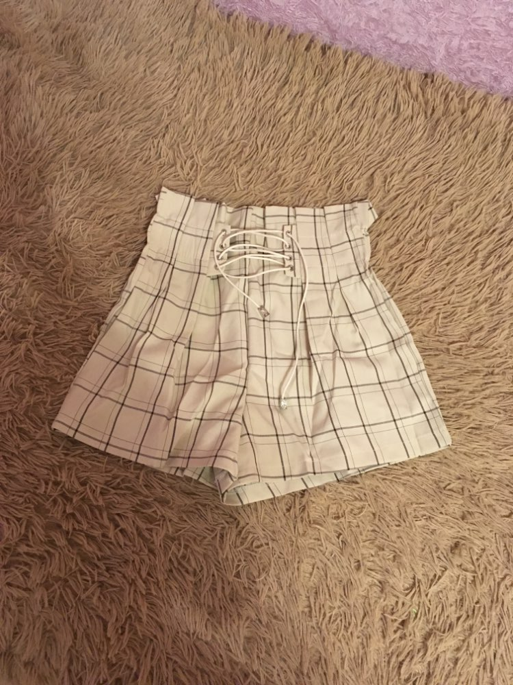 Japanese Harajuku Retro Plaid Summer Shorts Women Fashion Lace Up High Waist Wide Leg Shorts Girls Hot Shorts photo review