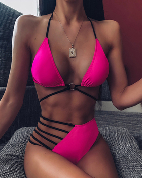 2020 Women Fashion Elegant Sexy Bandage Sleeveless Beachwear Seaside Female Halter Ladder Cutout Bandage Bikini Set