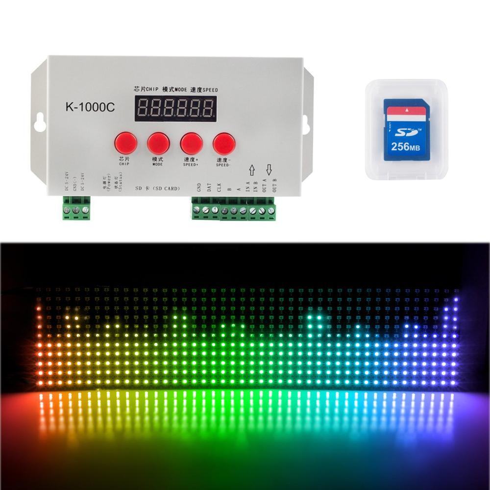 T1000S Upgrade K1000C SD Card Led Pixel Controller 2812 2811 5-24V Pixel Led Control 2048 Pixels With LCD Screen 5050 LED Strip