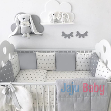 Jaju Baby Gray Star Baby Duvet Cover Set and Crib Edge Protection
