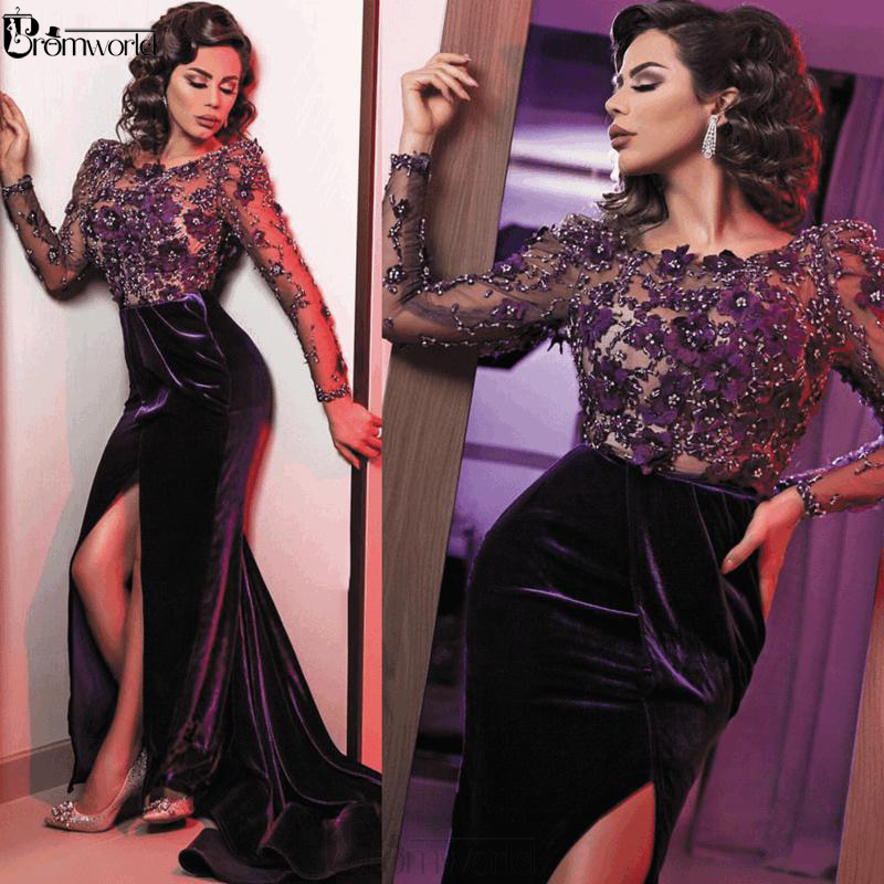 Elegant Women Evening Dresses Mermaid Long Sleeves Velvet 3D Flowers Beaded Sexy Slit Muslim Formal Dress Party Gown 2020