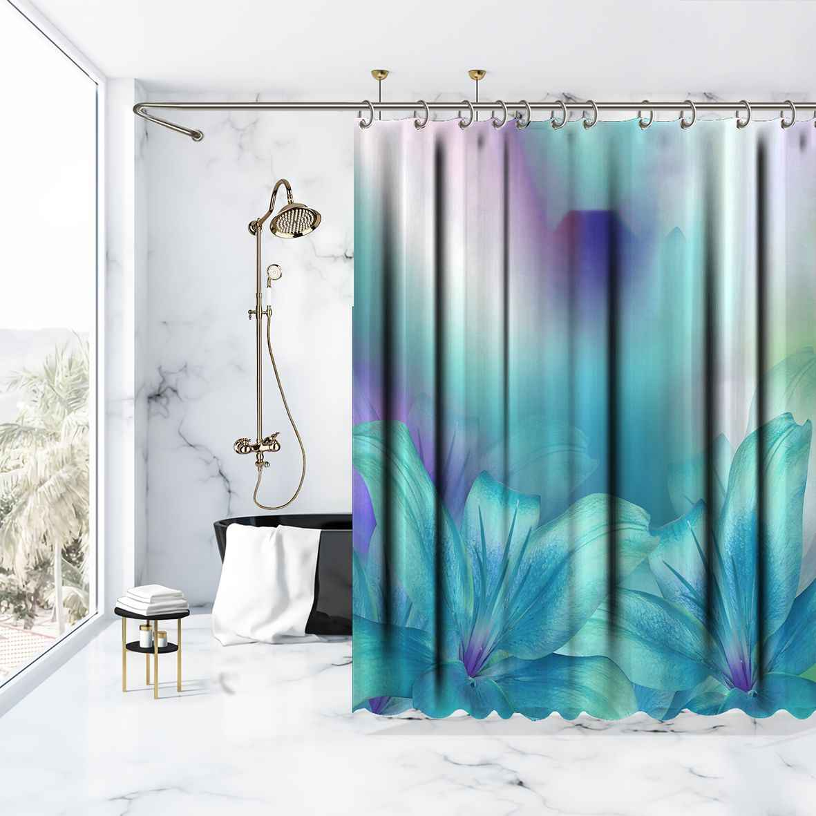 shower curtain lily flowers bouquet on