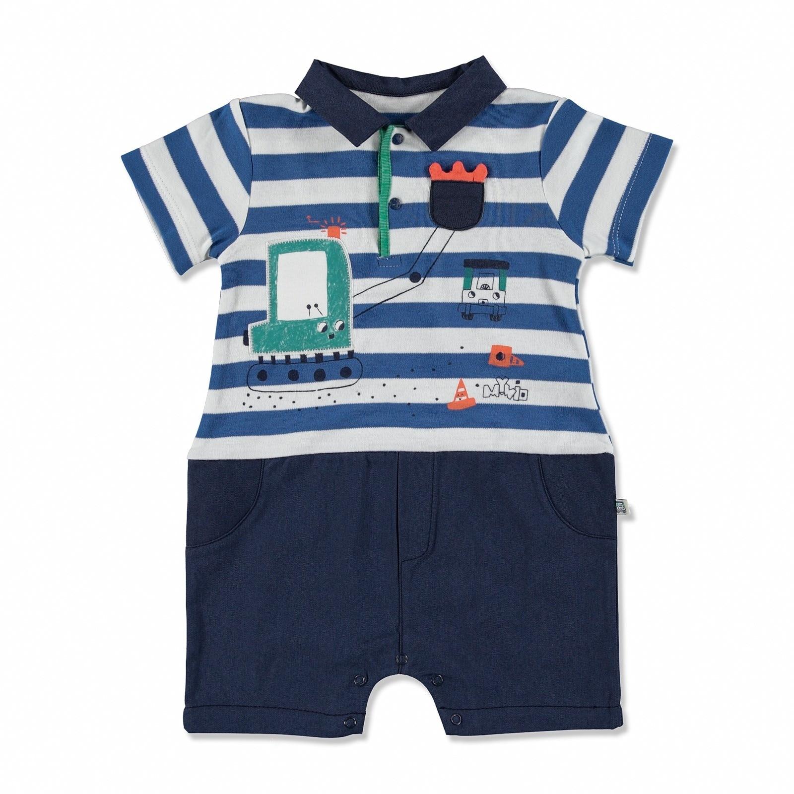 Ebebek Mymio Summer Baby Boy Scoop Interlock Short Sleeve Footless Jumpsuit