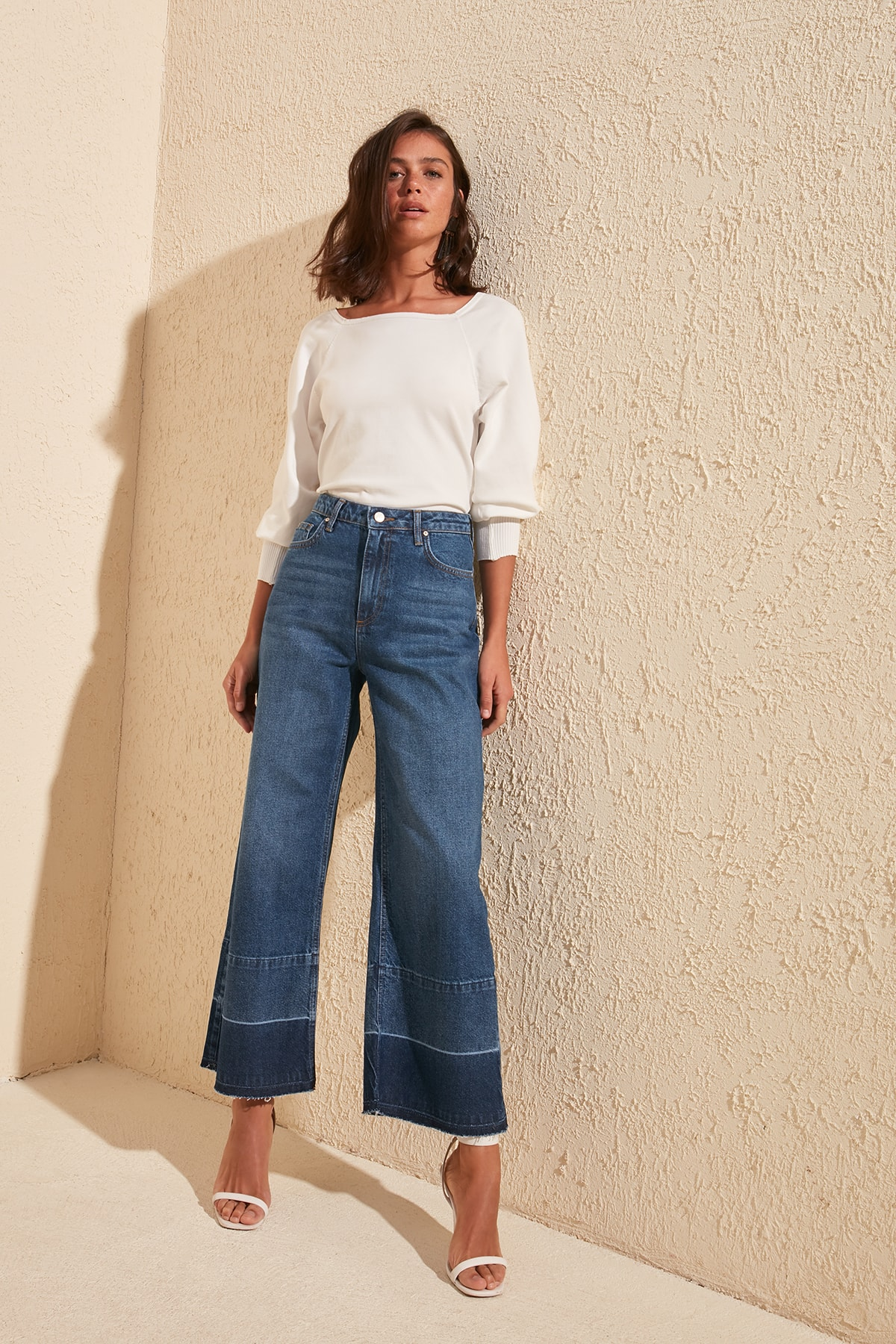 Trendyol Pettitoes With Color Block High Waist Culotte Jeans TWOSS20JE0347