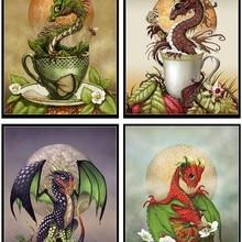 Cross-Stitch-Kits Handmade Counted Needlework-Crafts-14-Ct-Aida DIY Arts Dmc-Color Home-Decor-Dragon-Collection