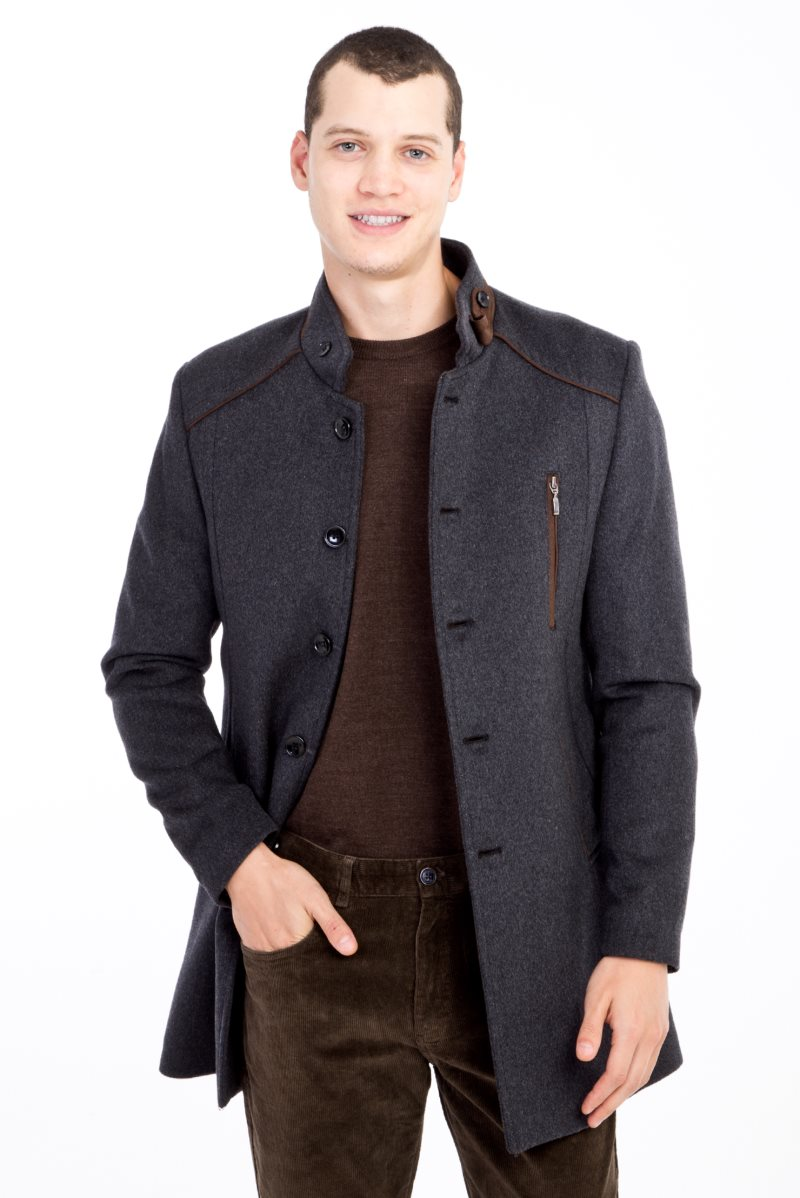 Kigili Menswear Autumn-Winter Warm Casual Overcoat High Quality Stand-up Collar Wool Coats Essentials Men's Wool Blend Jacket