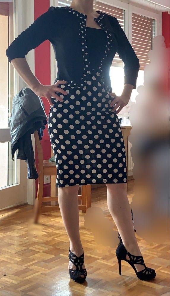 Nice Forever One Piece Faux Jacket Retro Contrast Polka Wear To Work Business Vestidos Office Bodycon Women Sheath Dress photo review