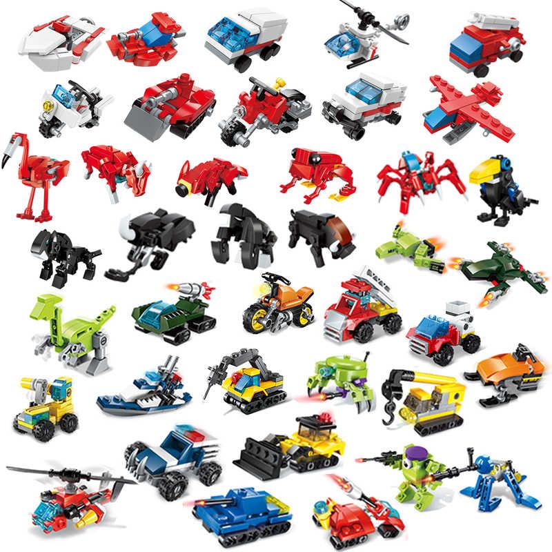 QMAN Mini Dell'automobile di Trasporto Blocchi di Costruzione Technic Aeromobili dinosauro Auto Ingegnere Veicolo Modelli di Mattoni Giocattoli Per I Bambini
