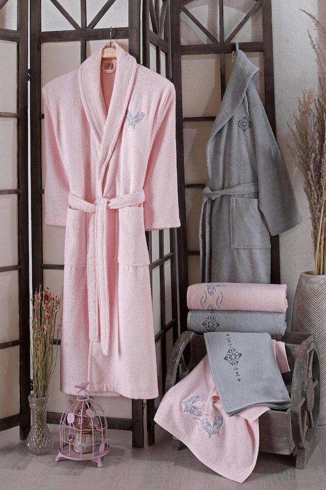 Varol Elegant Family Robe Set 100 Cotton-Powder Gray 390924224