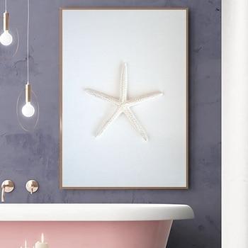 Bathroom Decoration Starfish Seashell Photography Poster Print Beach Art Picture Canvas Painting Nautical Coastal Wall Art Decor Leather Bag