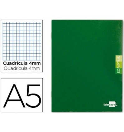 NOTEPAD LEADERPAPER SCRIPTUS A5 48 SHEETS 90G/M2 FRAME 4MM MARGIN GREEN COLOR 5 PCs