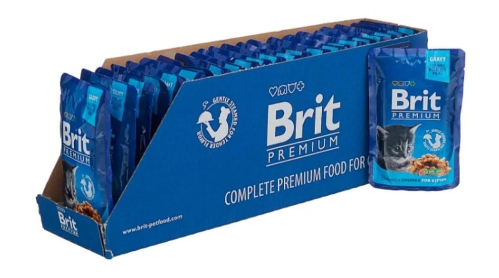 Brit Premium пауч для котят (кусочки в соусе, 100 гр), Курица, 24*100 г