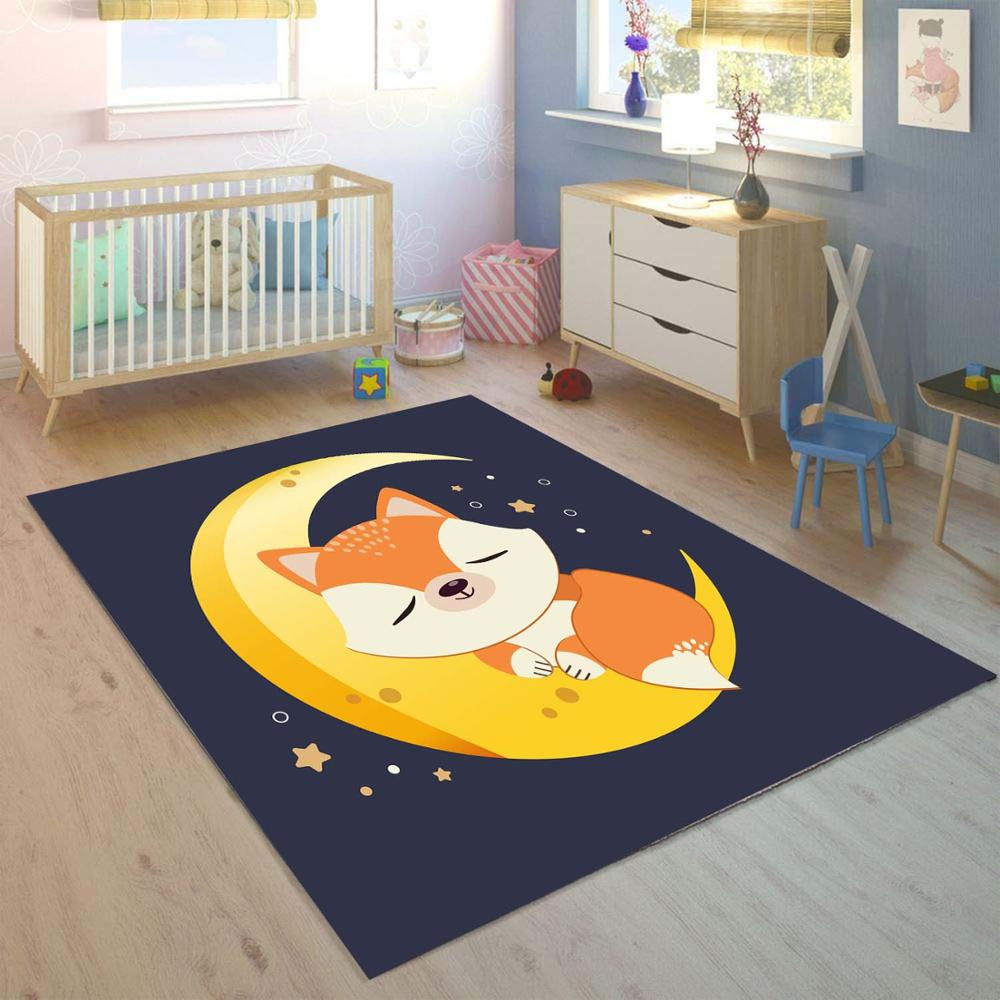 Else Navy Blue On Yellow Moon Brown Fox 3d Print Non Slip Microfiber Children Kids Room Decorative Area Rug Mat