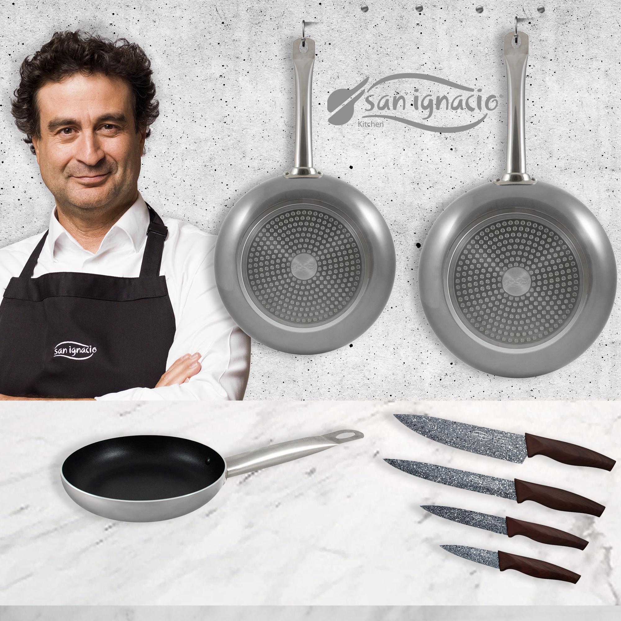 Pans (18, 20,24 Cm) In Aluminum Pressed With 4 Kitchen Knives SAN Ignacio Collection Professional Chef Platinum