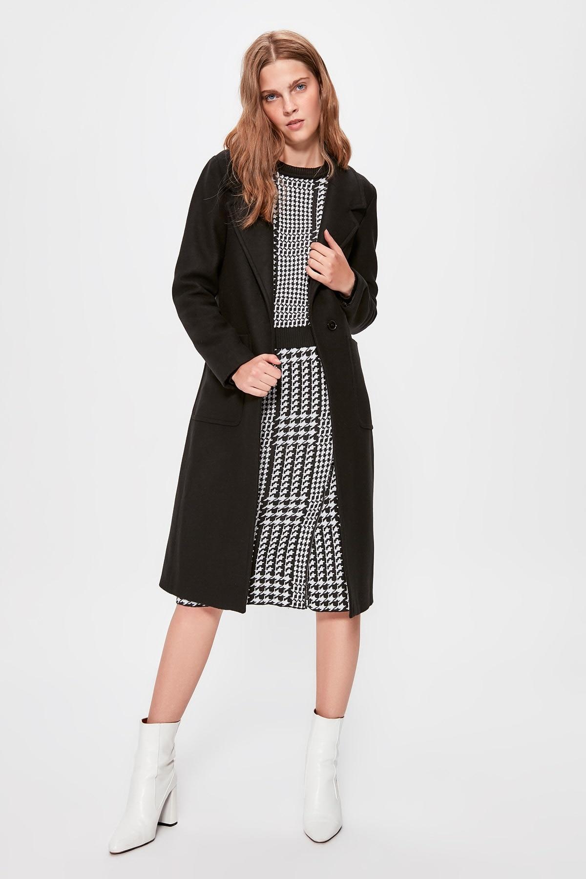 Trendyol Black Front Single Button Woolen Long Stamp Coat TWOAW20KB0043