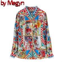 Tarafından Megyn pist tasarımcı 3XL artı boyutu bluzlar kadın uzun kollu Vintage şifon baskı gömlek moda üst giyim Casual bluz