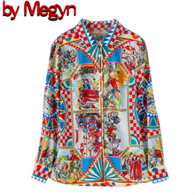 by Megyn Runway Designer 3XL Plus size Blouses Womens Long Sleeve Vintage Chiffon Print Shirt Fashion Tops Casual Blouse