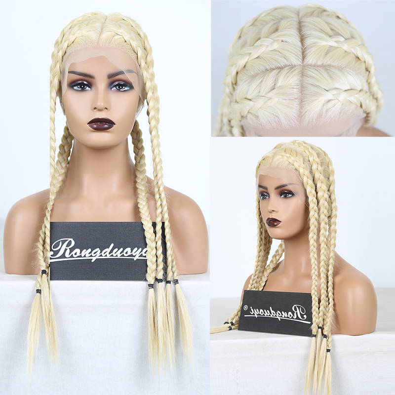 RONGDUOYI Long Blonde Synthetic Full Lace Wig Heat Resistant Braided Wigs  For Women Deep Part Cosplay Blonded Wig Braids Wigs