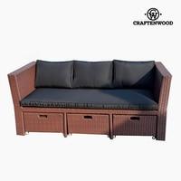 Sofa and Pouf Set (4 pcs) Rattan Brown Black   -