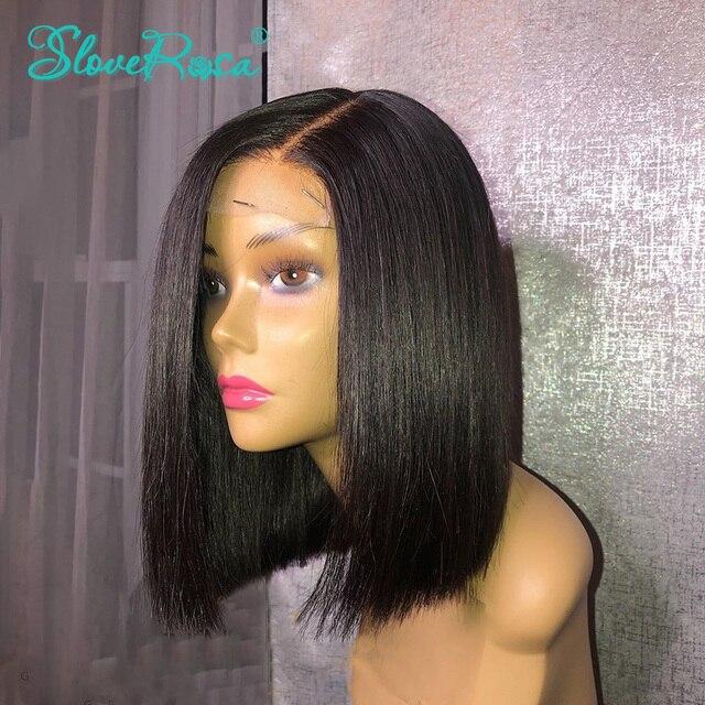 150% 密度13 × 4レースフロント人毛ウィッグ黒人女性ショートボブブラジルレミーヘアー前摘み取らベビーヘアーsloveためローザ