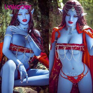 Linkooer 158cm Blue Elf Beauty Sex Dolls Silicone Lifelike Anus Vaginal Oral Realistic Adult Love Doll Sex Doll for Men