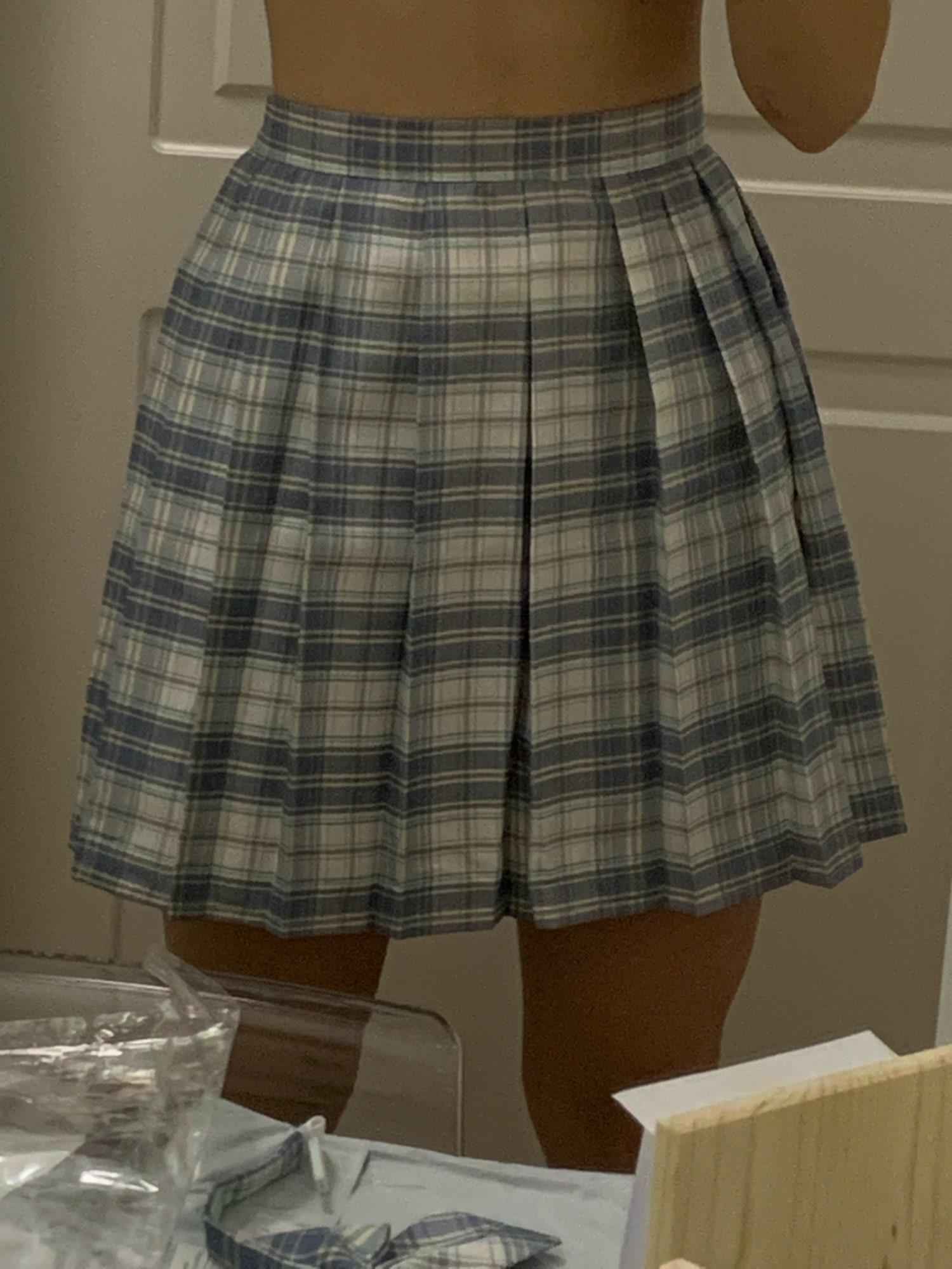 Harajuku E-girl Soft girl Pleated A-Line Plaid Skirts photo review