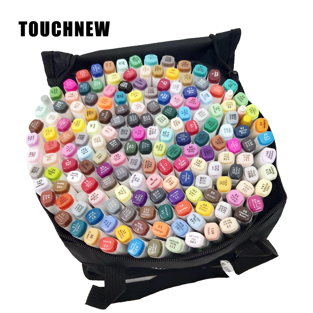 30 40 60 80 168 Colors Touchfnew Markers Brush Pens For Drawing Painting Permanent Marker Sketching Dual Brush Tip Oil Based Pen