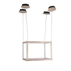 Światło sufitowe prostokąt drewno w Wiszące lampki od Lampy i oświetlenie na