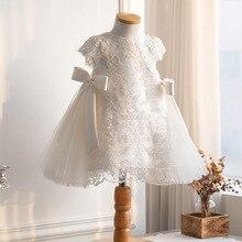 Летнее платье для маленьких девочек на день рождения 1 год, элегантное кружевное пушистое платье принцессы для девочек с цветами, праздничн...